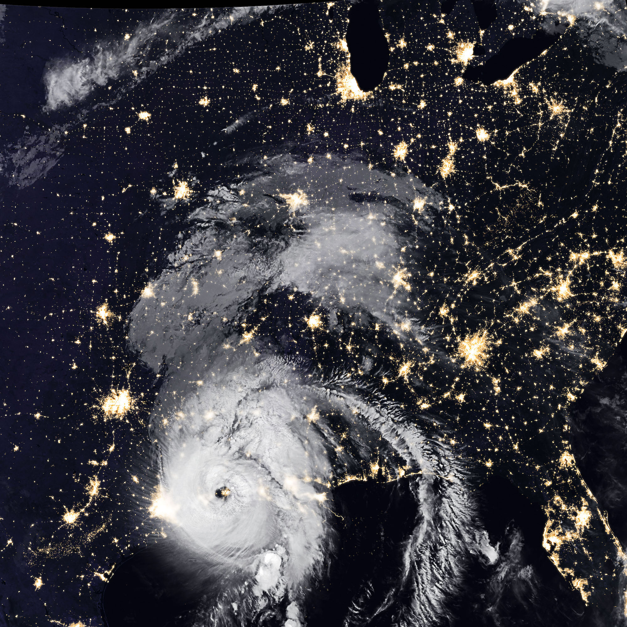 Hurricane Laura from space as it made landfall in Louisiana